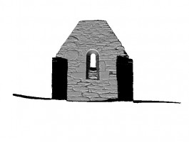 Left section view 3 of untextured 3D model of Trinity Church, Glendalough