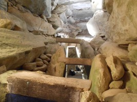 Photograph looking towards entrance from inside passage tomb chamber, Newgrange