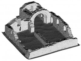 Perspective view 4 of untextured 3D model of St Saviour's Priory, Glendalough