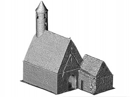 Perspective view NW of untextured 3D model of St. Kevin's Church, Glendalough