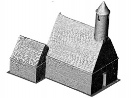 Perspective view SE of untextured 3D model of St. Kevin's Church, Glendalough