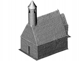 Perspective view NE of untextured 3D model of St. Kevin's Church, Glendalough