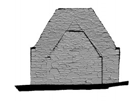 Right elevation view of untextured 3D model of Trinity Church, Glendalough