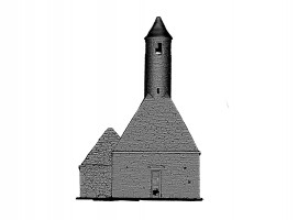 Rear view of untextured 3D model of St. Kevin's Church, Glendalough