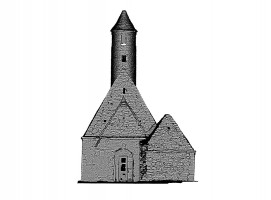 Front view of untextured 3D model of St. Kevin's Church, Glendalough