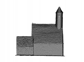 Side view of untextured 3D model of St. Kevin's Church, Glendalough