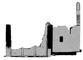 Right elevation section view 1 of untextured 3D model of The Cathedral, Clonmacnoise