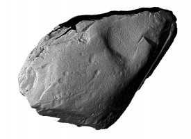 Perspective view 1 of front face of orthostat within satellite tomb 14, Knowth