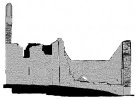 Left elevation view of untextured 3D model of The Cathedral, Clonmacnoise