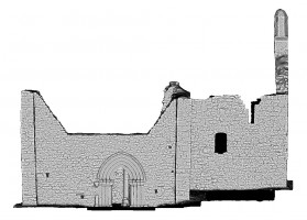 Right elevation view of untextured 3D model of The Cathedral, Clonmacnoise