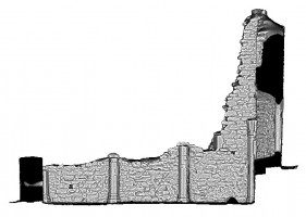 Right elevation section view 3 of untextured 3D model of The Cathedral, Clonmacnoise