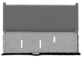 Front elevation view of untextured 3D model of Temple Connor, Clonmacnoise