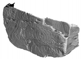 Perspective view 1 of decorated kerbstone 78, Knowth