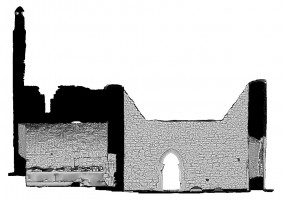 Left elevation section view 1 of untextured 3D model of The Cathedral, Clonmacnoise