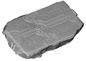 Isometric view 2 of decorated cross slab 253, Clonmacnoise
