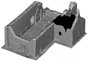Perspective view 4 of untextured 3D model of The Cathedral, Clonmacnoise