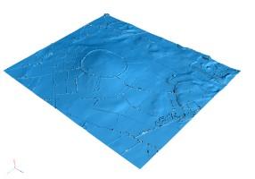 View looking SW across the 3D model of Dún Ailinne