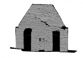 Left section view 1 of untextured 3D model of Trinity Church, Glendalough