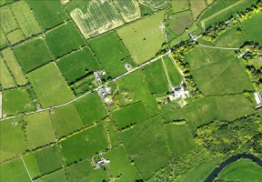 Vertical aerial image of the Dowth Archaeological Complex