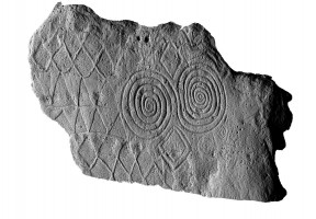 Perspective view 1 of decorated kerbstone 67, Newgrange