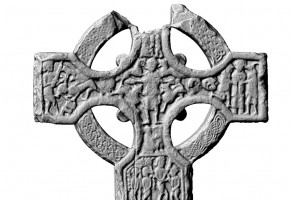 View of the cross face on the eastern shaft of the Market Cross, Kells