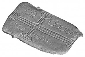 Isometric view 2 of decorated cross slab 108, Clonmacnoise