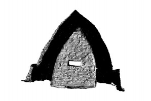 Front elevation section view of Small Oratory, Skellig Michael