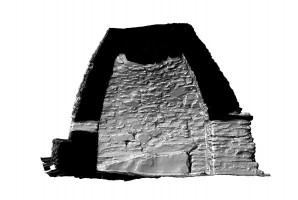 Left side elevation section view of Small Oratory, Skellig Michael