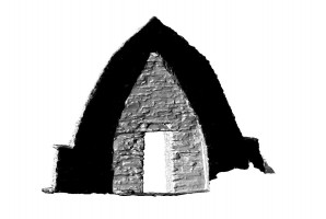 Rear elevation section view of Small Oratory, Skellig Michael