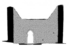 Left elevation section view 2 of untextured 3D model of The Cathedral, Clonmacnoise