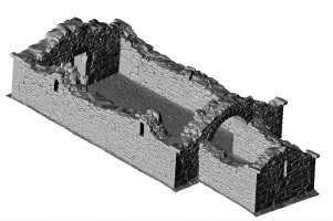Isometric view of 3D model of Reefert Church, Glendalough