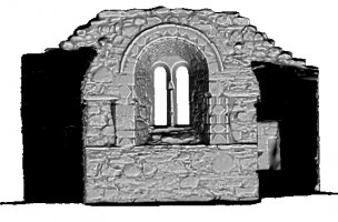 Left elevation section 2 view of untextured 3D model of St Saviour's Priory, Glendalough