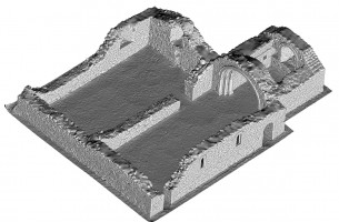 Perspective view 3 of untextured 3D model of St Saviour's Priory, Glendalough