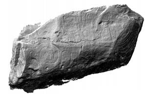 Perspective view of decorated kerbstone 75, Knowth