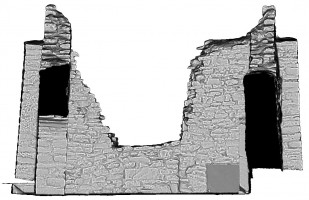 Rear elevation section view of untextured 3D model of Temple Ciaran, Clonmacnoise