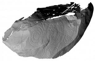 Perspective view 2 of decorated kerbstone 79, Knowth