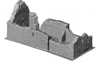 Perspective view 1 of untextured 3D model of St Mary's Church, Glendalough