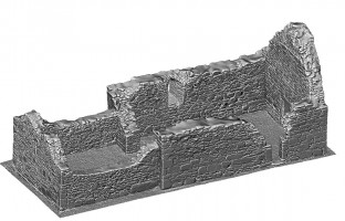 Perspective view 2 of untextured 3D model of St Mary's Church, Glendalough