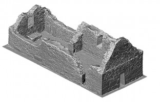 Perspective view 3 of untextured 3D model of St Mary's Church, Glendalough