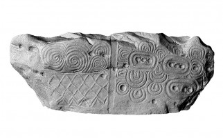Front elevation view of the decorated kerbstone 52, Newgrange