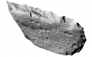 Perspective view 2 of the decorated kerbstone 52, Newgrange