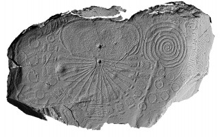 Shaded elevation image of decorated kerbstone 15, Knowth