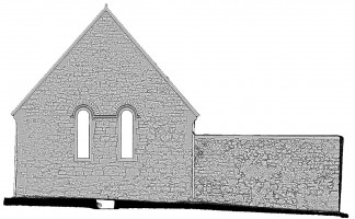Right elevation view of untextured 3D model of Temple Connor, Clonmacnoise