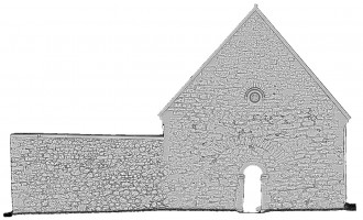 Left elevation view of untextured 3D model of Temple Connor, Clonmacnoise