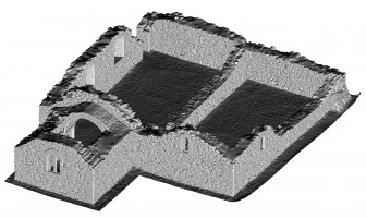 Perspective view of untextured 3D model of St Saviour's Priory, Glendalough