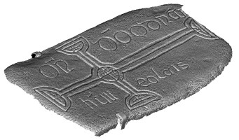 Isometric view 1 of decorated cross slab 108, Clonmacnoise