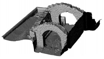 Perspective view of shaded 3d model of the Gateway, Glendalough