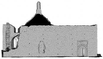 Front elevation view of untextured 3D model of The Cathedral, Clonmacnoise