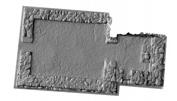 Plan view of untextured 3D model of St Kieran's Church, Glendalough