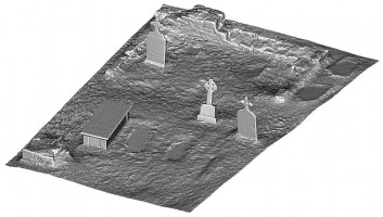 Perspective view 2 of untextured 3D model of Temple Kelly, Clonmacnoise